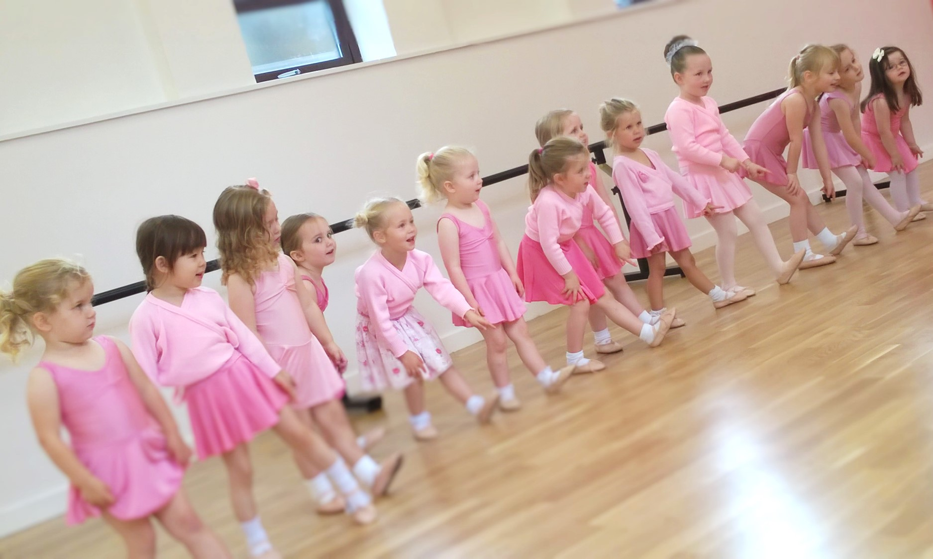 Learning left from right in baby ballet class at SK Dance Studio Wigan