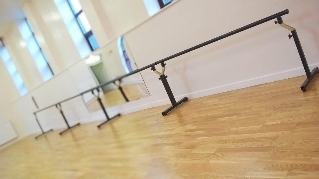 Inside SK Dance Studio Wigan with Sprung Dancefloor and height adjustable barres