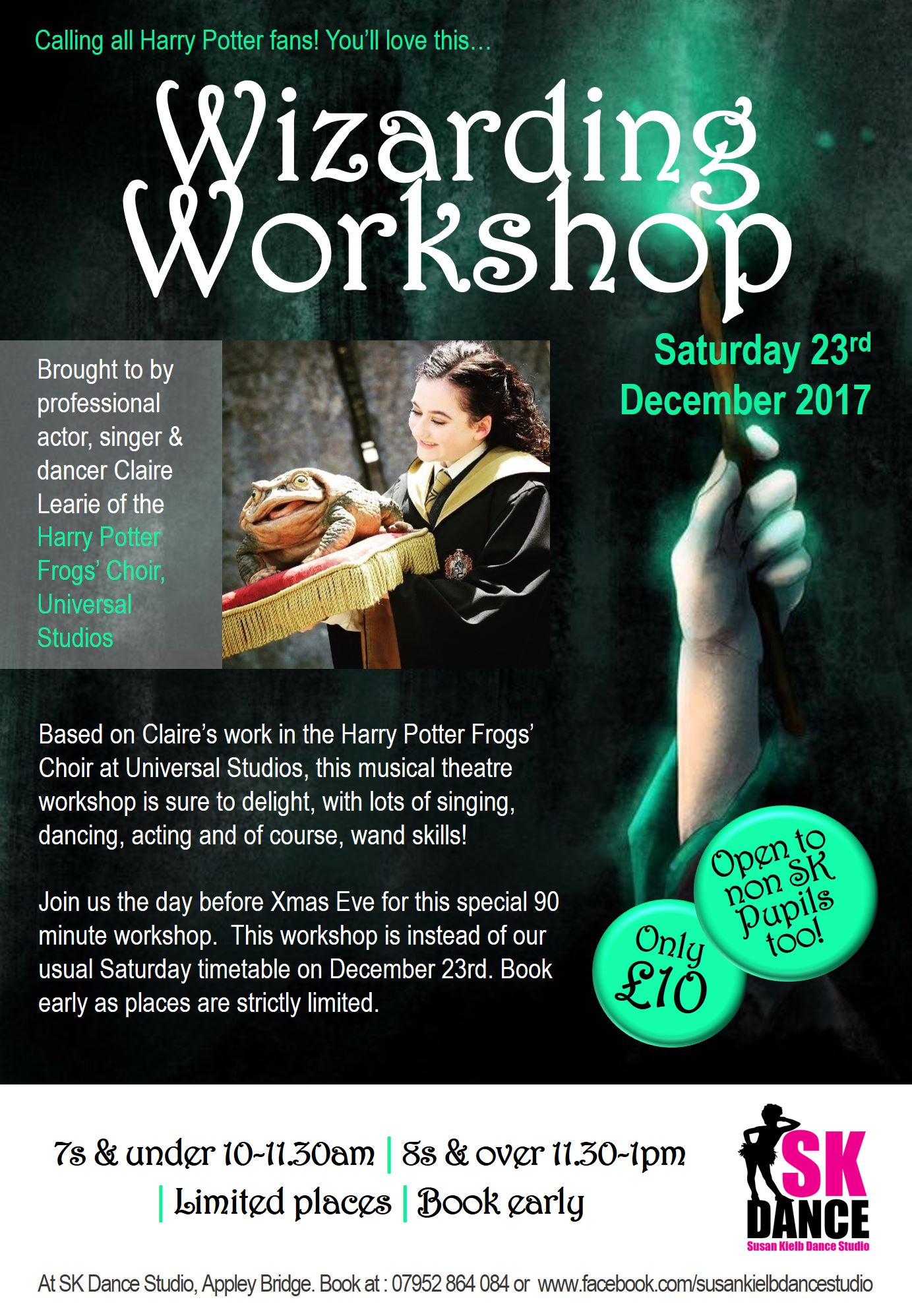 SK Dance Studio Wigan: Wizarding Workshop with professional actor, singer & dancer Claire Learie of the Harry Potter Frogs' Choir, Universal Studios