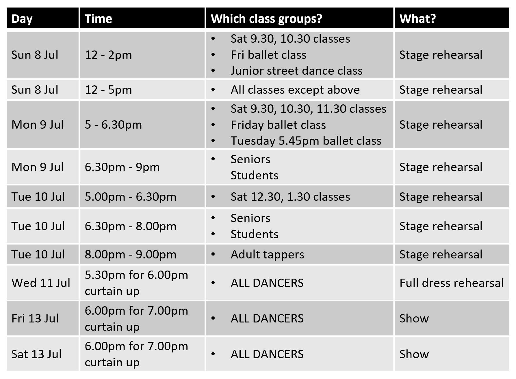 SK Dance Studio 2018 Show rehearsal schedule